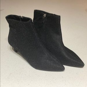 Forever 21 Black Glitter Fabric Ankle Booties